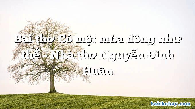 Bài thơ Có một mùa đông như thế – Nhà thơ Nguyễn Đình Huân