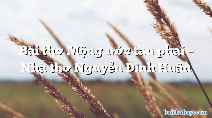 bai tho mong uoc tan phai nha tho nguyen dinh huan - Anh đến nhà em ui chà chà