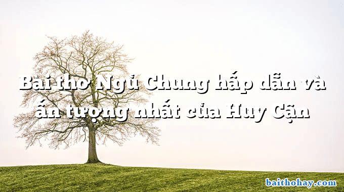 Bài thơ Ngủ Chung hấp dẫn và ấn tượng nhất của Huy Cận