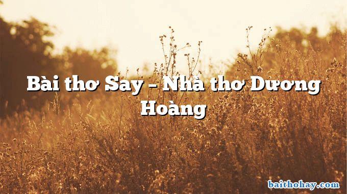 Bài thơ Say – Nhà thơ Dương Hoàng