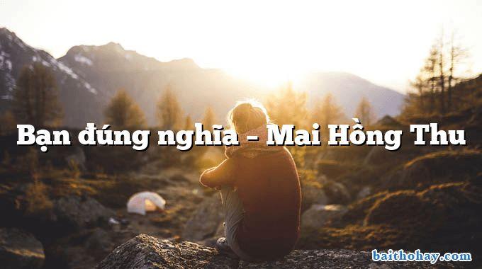Bạn đúng nghĩa – Mai Hồng Thu