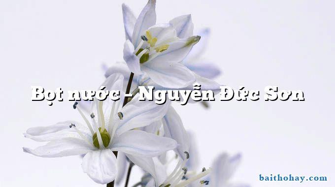 Bọt nước  –  Nguyễn Đức Sơn