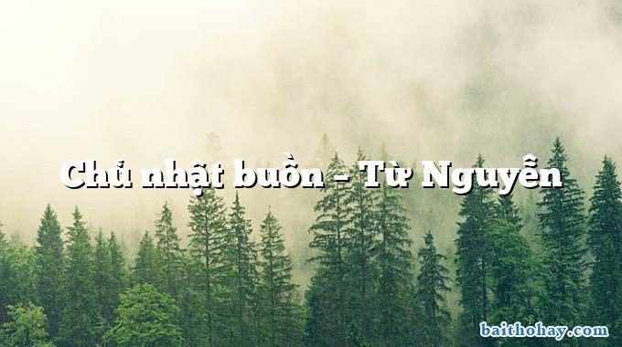 Chủ nhật buồn – Từ Nguyễn