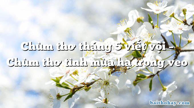 Chùm thơ tháng 5 viết vội – Chùm thơ tình mùa hạ trong veo