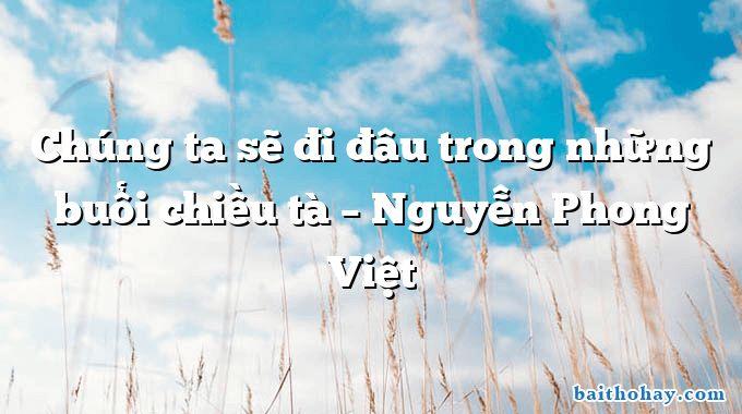 Chúng ta sẽ đi đâu trong những buổi chiều tà  –  Nguyễn Phong Việt