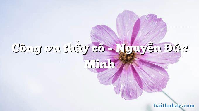 Công ơn thầy cô – Nguyễn Đức Minh
