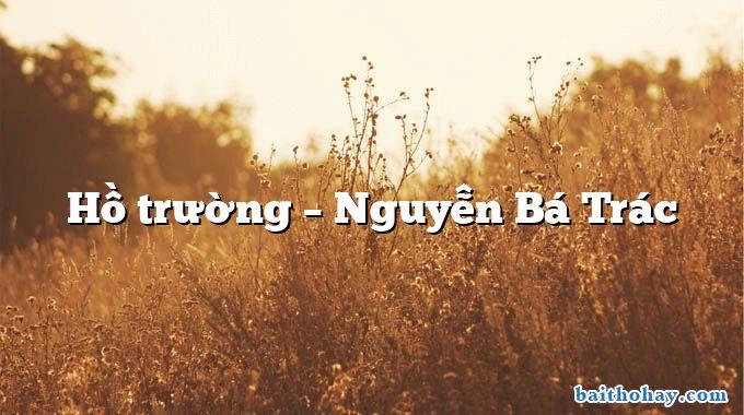 Hồ trường  –  Nguyễn Bá Trác