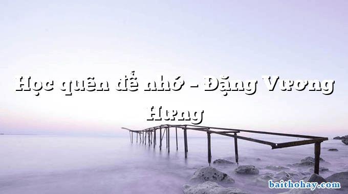 Học quên để nhớ – Đặng Vương Hưng