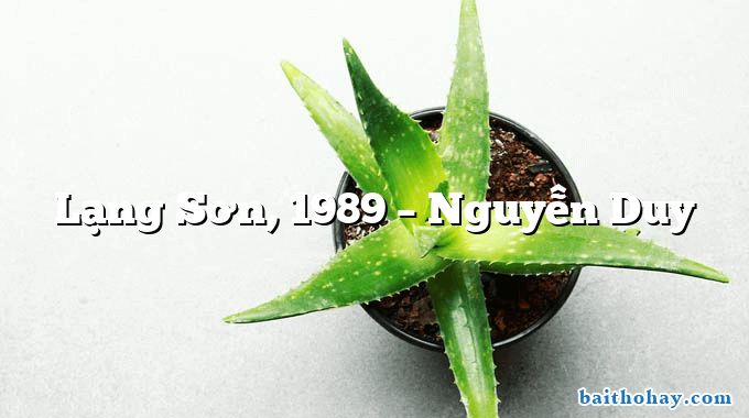Lạng Sơn, 1989  –  Nguyễn Duy