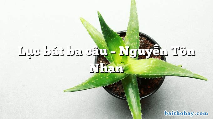 Lục bát ba câu  –  Nguyễn Tôn Nhan