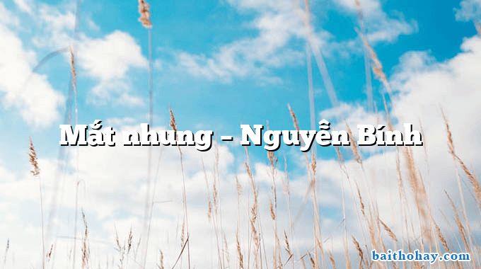 Mắt nhung – Nguyễn Bính