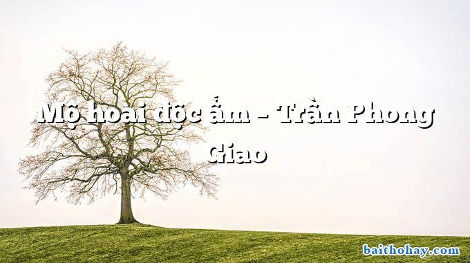 Mộ hoài độc ẩm  –  Trần Phong Giao
