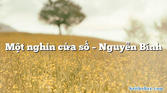 Một nghìn cửa sổ – Nguyễn Bính