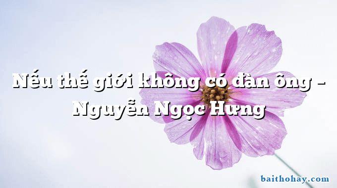 Nếu thế giới không có đàn ông –  Nguyễn Ngọc Hưng
