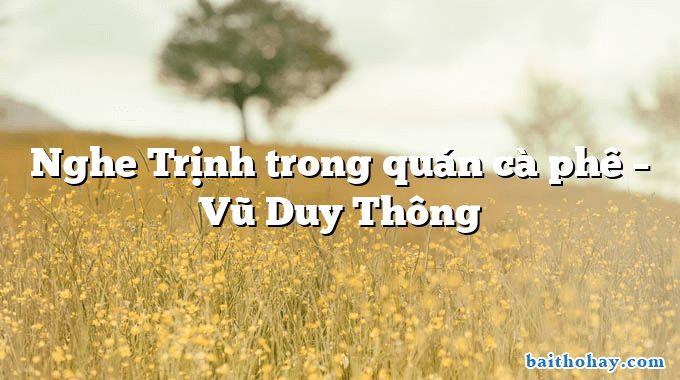 Nghe Trịnh trong quán cà phê  –  Vũ Duy Thông