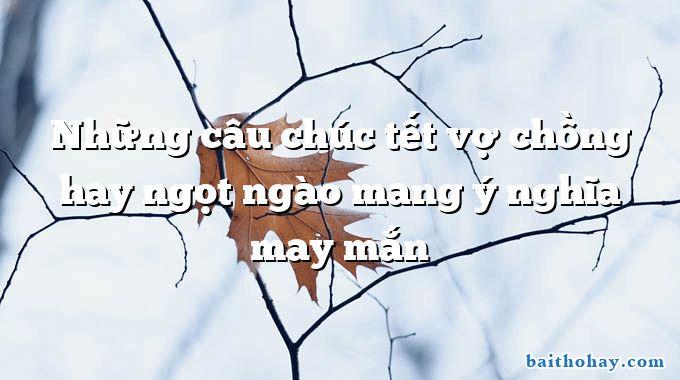 nhung cau chuc tet vo chong hay ngot ngao mang y nghia may man - Mẹ đi làm (Yêu mẹ) - Nguyễn Bao
