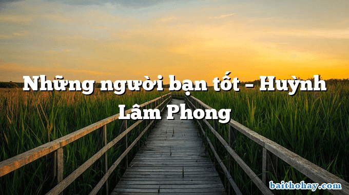 Những người bạn tốt – Huỳnh Lâm Phong