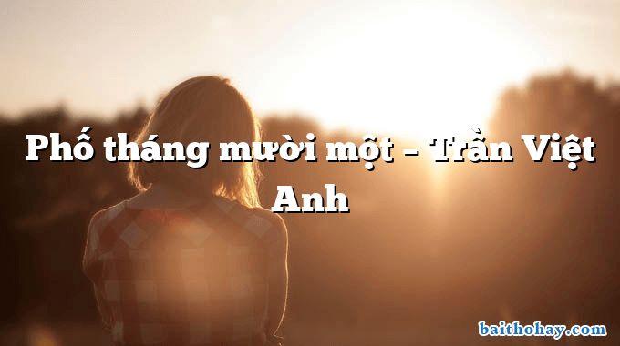 Phố tháng mười một  –  Trần Việt Anh