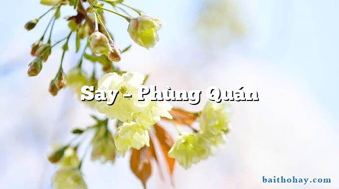 Say  –  Phùng Quán