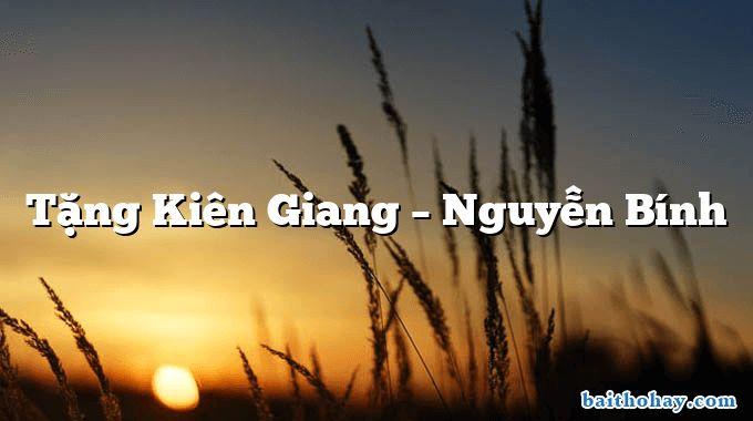 Tặng Kiên Giang  –  Nguyễn Bính
