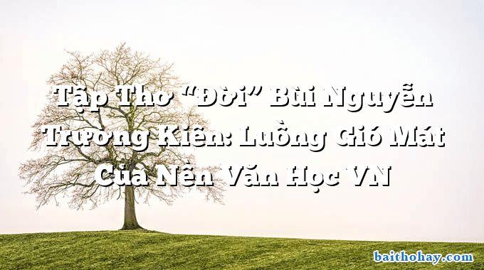 """Tập Thơ """"Đời"""" Bùi Nguyễn Trường Kiên: Luồng Gió Mát Của Nền Văn Học VN"""