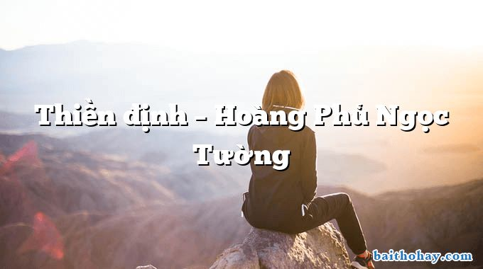 Thiền định  –  Hoàng Phủ Ngọc Tường
