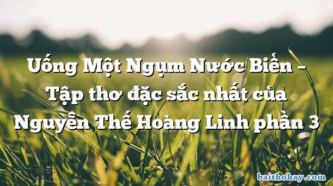 Uống Một Ngụm Nước Biển – Tập thơ đặc sắc nhất của Nguyễn Thế Hoàng Linh phần 3