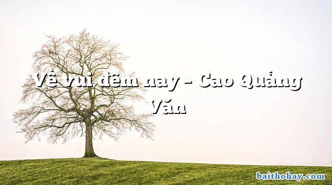 Về vui đêm nay  –  Cao Quảng Văn