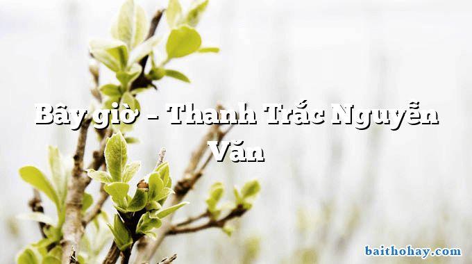 Bây giờ – Thanh Trắc Nguyễn Văn