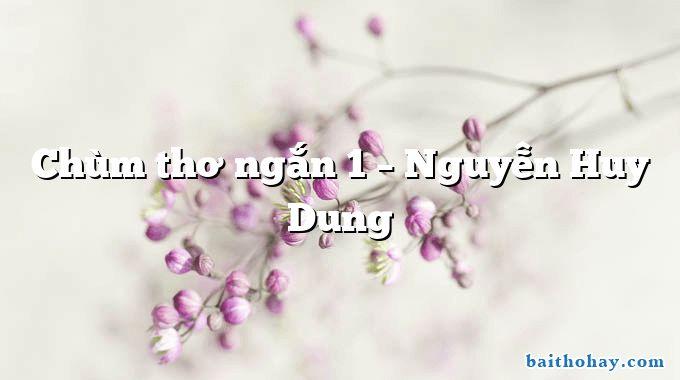 Chùm thơ ngắn 1 – Nguyễn Huy Dung