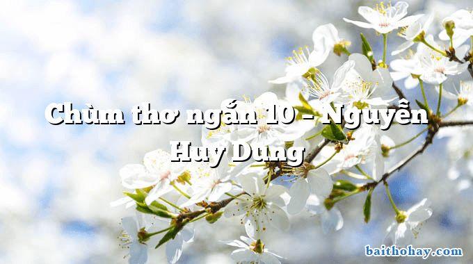 Chùm thơ ngắn 10 – Nguyễn Huy Dung