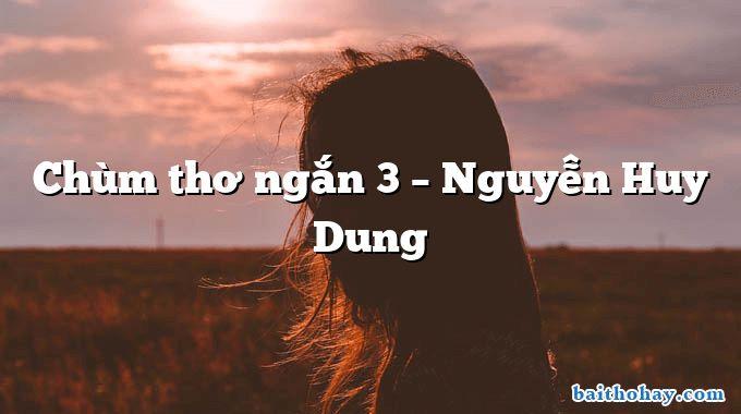 Chùm thơ ngắn 3 – Nguyễn Huy Dung