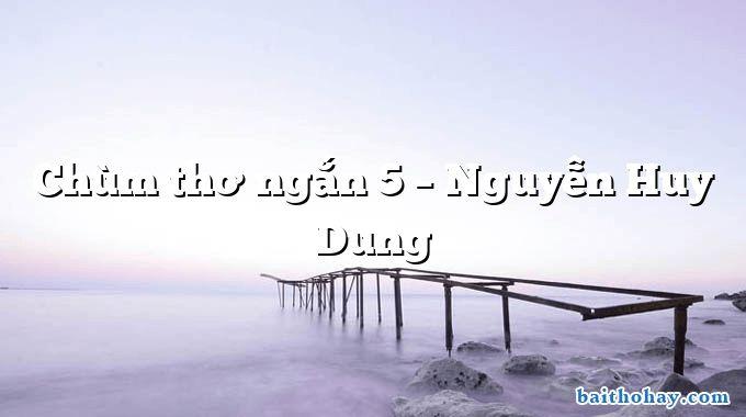 Chùm thơ ngắn 5 – Nguyễn Huy Dung
