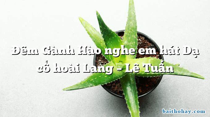Đêm Gành Hào nghe em hát Dạ cổ hoài Lang – Lê Tuấn