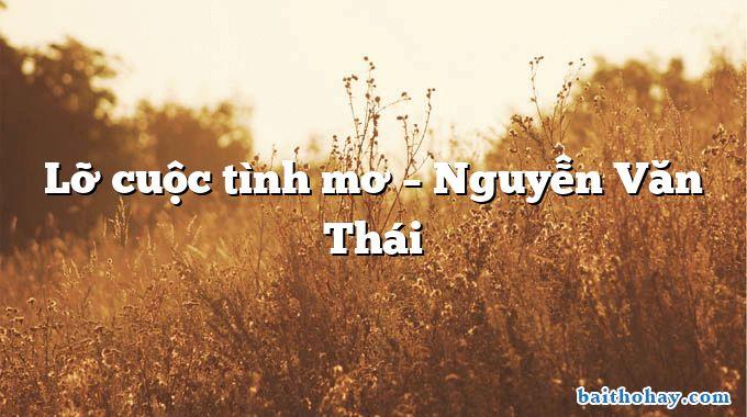 Lỡ cuộc tình mơ – Nguyễn Văn Thái
