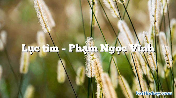 Lục tìm – Phạm Ngọc Vĩnh