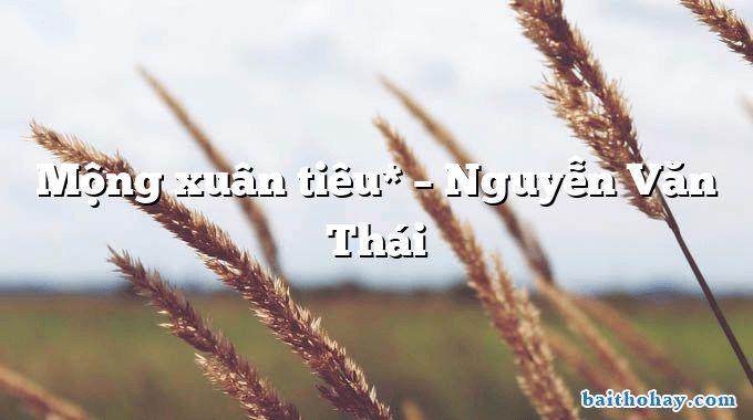 Mộng xuân tiêu* – Nguyễn Văn Thái