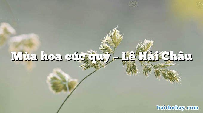 Mùa hoa cúc quỳ – Lê Hải Châu