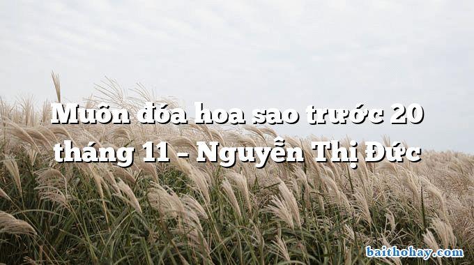 Muôn đóa hoa sao trước 20 tháng 11 – Nguyễn Thị Đức