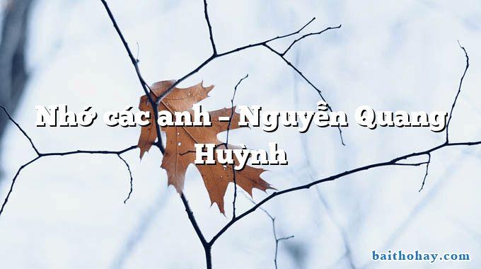 Nhớ các anh – Nguyễn Quang Huỳnh