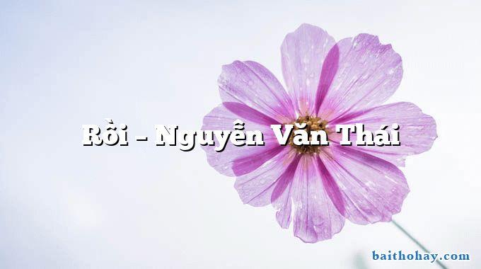 Rồi – Nguyễn Văn Thái
