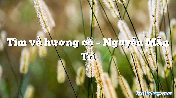 Tìm về hương cỏ – Nguyễn Mẫn Trí